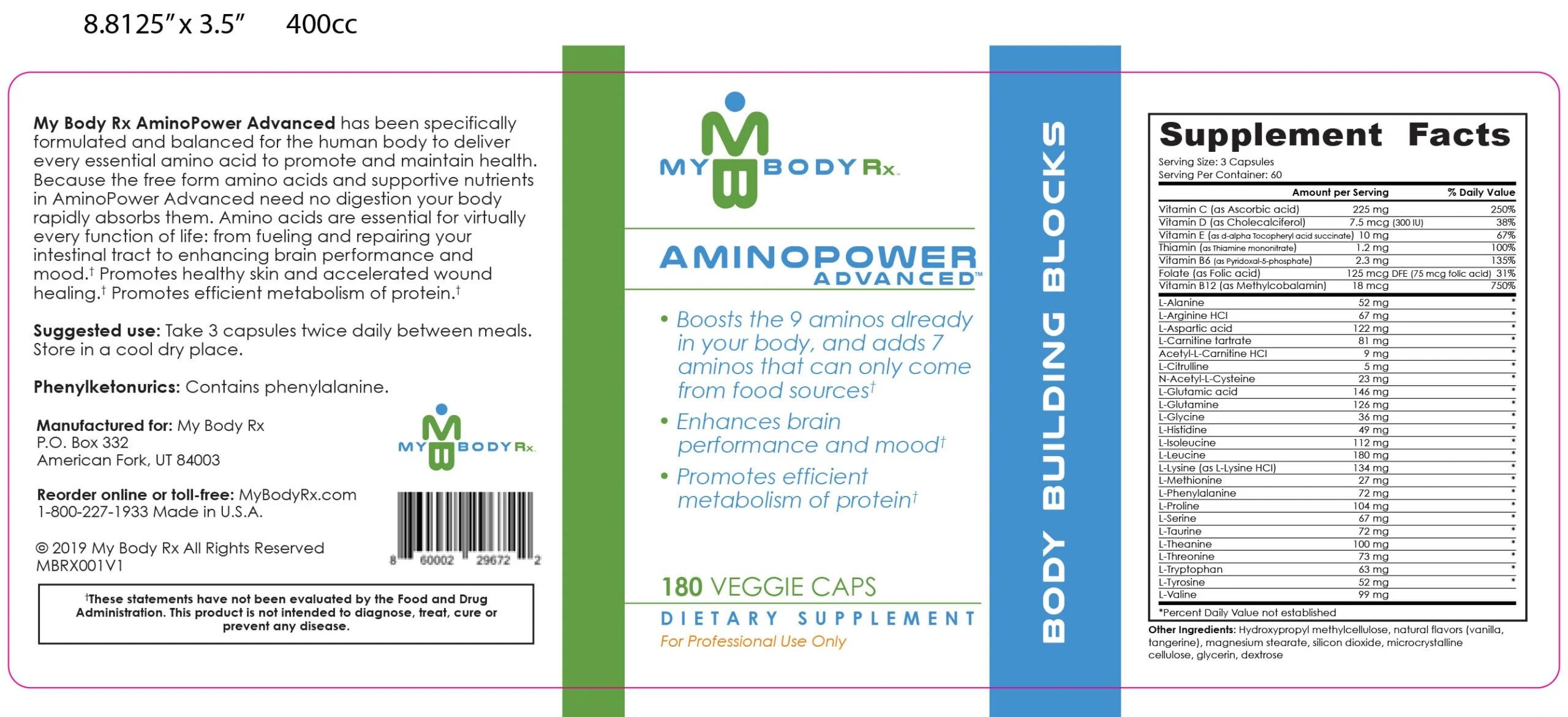 AminoPower Advanced – Body Building Blocks Ingredients