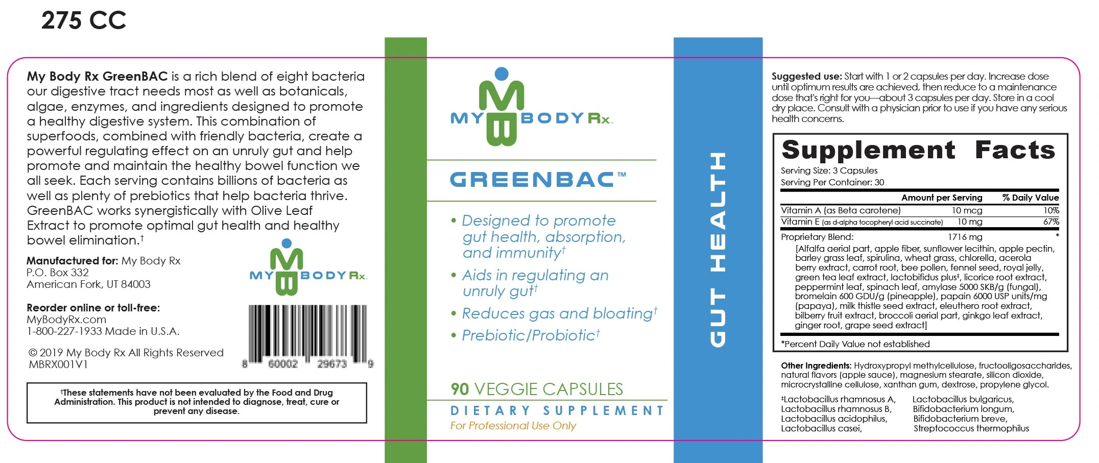 GreenBAC – Gut Health Supplement Ingredients